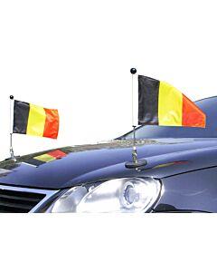 Paar  magnetisch haftender Autofahnen-Ständer Diplomat-1 Belgien