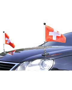 Pair  Magnetic Car Flag Pole Diplomat-1 Switzerland