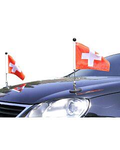 Pair  Magnetic Car Flag Pole Diplomat-1.30 Switzerland