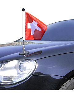 Soporte de bandera para coches con sujeción magnética Diplomat-1 Suiza (cuadrado, 25×25 cm)