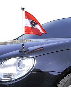 Soporte de bandera para coches con sujeción magnética Diplomat-1.30-Chrome Austria con escudo oficial