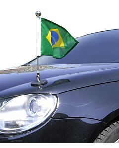 Magnetic Car Flag Pole Diplomat-1.30-Chrome Brazil