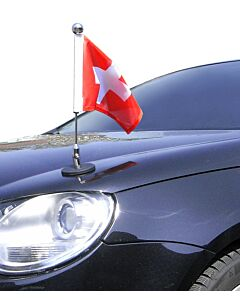 Magnetic Car Flag Pole Diplomat-1-Chrome Switzerland