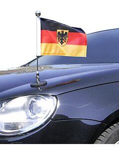 magnetisch haftender Autofahnen-Ständer Diplomat-1-Chrome Deutschland mit Dienst-Wappen