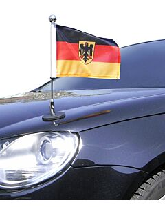 magnetisch haftender Autofahnen-Ständer Diplomat-1.30-Chrome Deutschland mit Dienst-Wappen