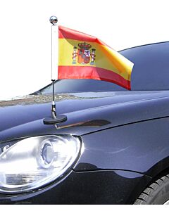 Magnetic Car Flag Pole Diplomat-1.30-Chrome Spain with coat of arms
