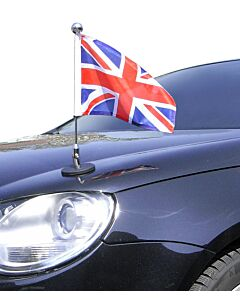 Magnetic Car Flag Pole Diplomat-1-Chrome Great Britain