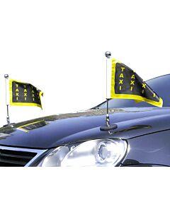 Paar  magnetisch haftender Autofahnen-Ständer Diplomat-1.30-Chrome mit individuell bedruckter Fahne