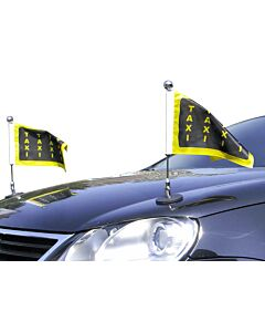 Paar  magnetisch haftender Autofahnen-Ständer Diplomat-1-Chrome mit individuell bedruckter Fahne