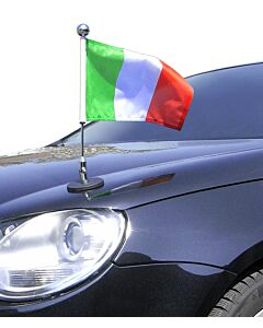 Magnetic Car Flag Pole Diplomat-1.30-Chrome Italy