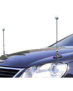 Pair  Magnetic Car Flag Pole Diplomat-1-Chrome