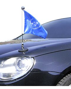 Magnetic Car Flag Pole Diplomat-1-Chrome United Nations (UN)