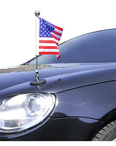 Magnetic Car Flag Pole Diplomat-1.30-Chrome USA