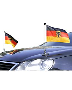 Pair  Magnetic Car Flag Pole Diplomat-1.30 Germany with coat of arms