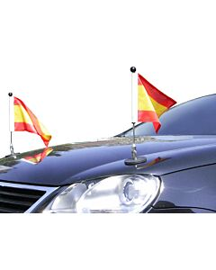 Pair  Magnetic Car Flag Pole Diplomat-1 Spain