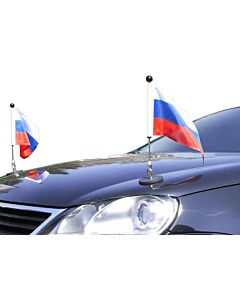 Pair  Magnetic Car Flag Pole Diplomat-1 Russia