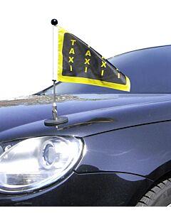 magnetisch haftender Autofahnen-Ständer Diplomat-1 mit individuell bedruckter Fahne (linke Seite)