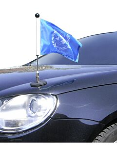 Pair  Magnetic Car Flag Pole Diplomat-1 United Nations (UN)
