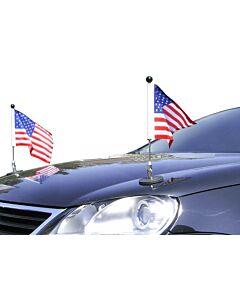 Pair  Magnetic Car Flag Pole Diplomat-1 USA
