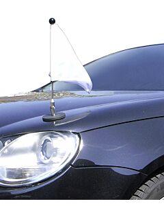 Soporte de bandera para coches con sujeción magnética Diplomat-1 con bandera blanca